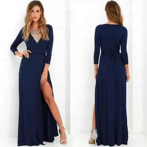 Lulu's Garden District Wrap Navy Blue Maxi Dress